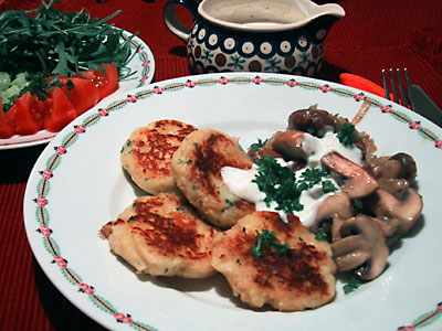 Kartoffeltaler mit Kräuterchampignons